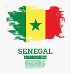 senegal flag with brush strokes vector image