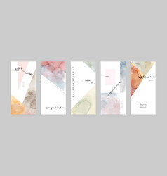 Set hand-painted watercolor card layouts vector