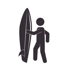 silhouette surfer surfing table sport vector image