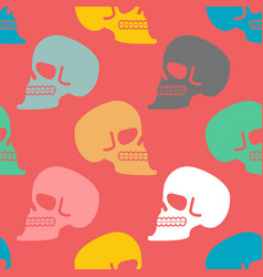 skull seamless pattern texture skeleton head vector image