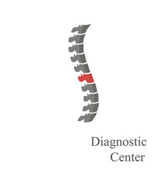 spine diagnostics logotype with pain sign on vector image