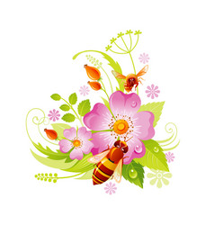 Spring flower icon rose hip floral symbol with vector