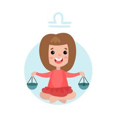 sweet little girl as libra astrological sign vector image