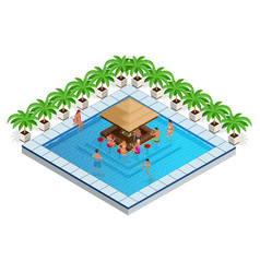 swimming pool with bar isometric vector image