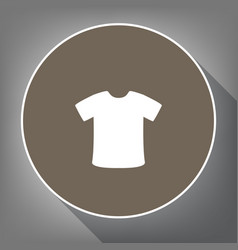 t-shirt sign white icon on brown circle vector image