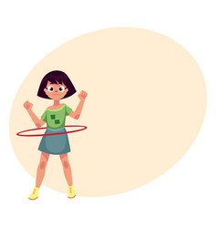 Teenage caucasian girl spinning playing with hula vector