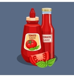 Tomato sauce bottle vector image