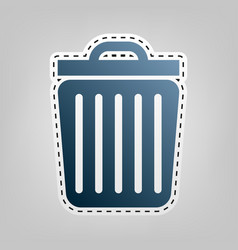 Trash sign blue icon with vector