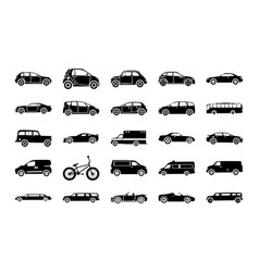 Urban city car glyph icons vector