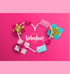 valentines day card frame of pink 3d love elements vector image