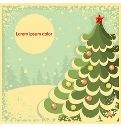 Vintage Christmas card with tree for textRetro vector