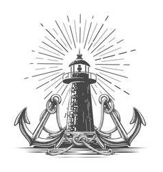vintage light house in engraving style vector image