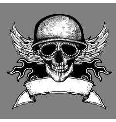 Vintage skull grunge biker motorcycle label vector