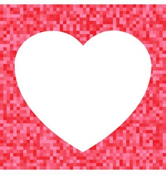 White Heart icon on Red Pixel Background vector image