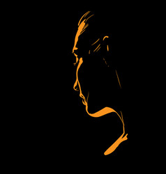 Woman face silhouette in backlight vector