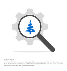 X-mas tree icon search glass with gear symbol vector
