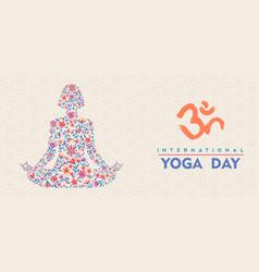 yoga day banner floral woman meditating vector image