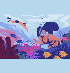 young man and woman in diving masks swimming in vector image