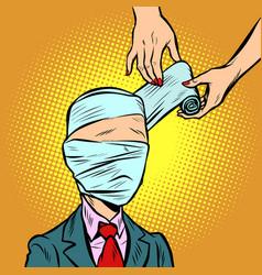 bandaged head medical assistance vector image