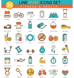 Fitness and health flat line icon set vector image vector image