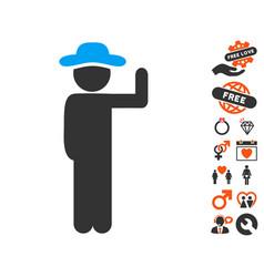 gentleman vote icon with dating bonus vector image vector image