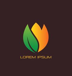 leaf flower eco logo vector image