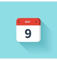 May 9 Isometric Calendar Icon With Shadow vector image vector image