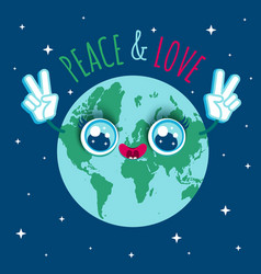 planet earth in kawaii style vector image vector image