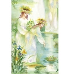 Watercolor fairy woman with flowers vector image