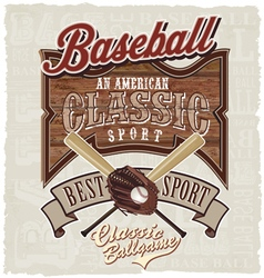 best american classic baseball vector image