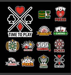 casino poker logo templates set vector image vector image