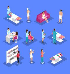 isometric people and cosmetology set vector image