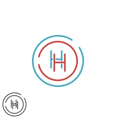 Letter H logo monogram initials HH intersection vector image vector image