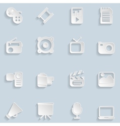 Paper multimedia icons vector