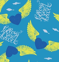 winged blue hearts vector image