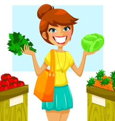 buying vegetables vector image vector image