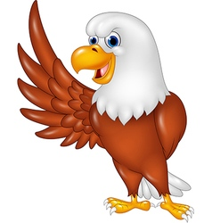 Cartoon eagle waving isolated on white background vector image vector image