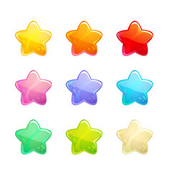 cartoon glossy colorful stars set vector image vector image