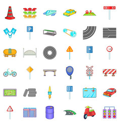 crossroad icons set cartoon style vector image vector image
