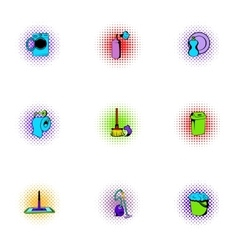 House cleaning icons set pop-art style vector image vector image