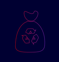 trash bag icon line icon with gradient vector image