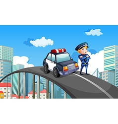 A patrol car and a policeman in the middle of the vector image vector image