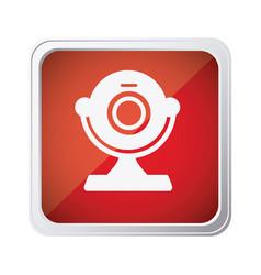 red emblem computer camera icon vector image
