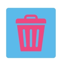 Trash Can flat pink and blue colors rounded button vector image