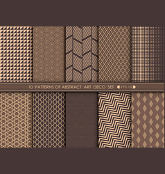 abstract art deco pattern set background vector image