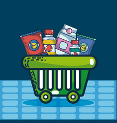 Basket with super market products vector