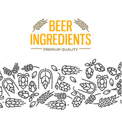 Beer ingredients design card vector