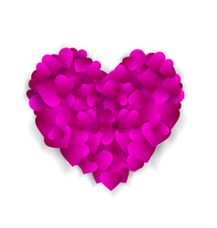 big purple heart made of small hearts isolated on vector image