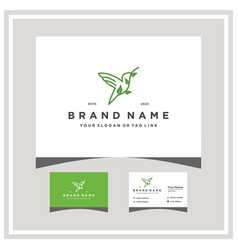 Bird leaf logo design and business card vector