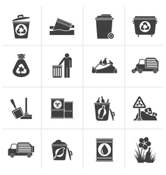 Black Garbage and rubbish icons vector